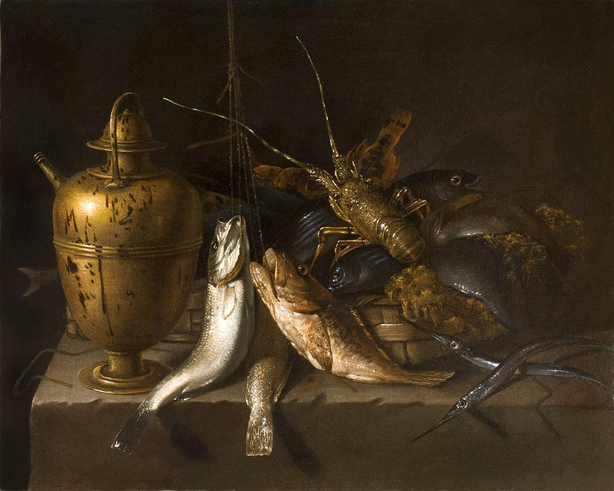 Natura morta con grande rame e aragosta olio su tela cm. 102 x 128